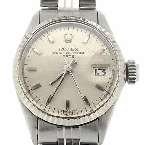 Vintage-Rolex-Date-Ladies-Stainless-Steel-Watch-18K-White-Gold-Bezel-Silver-6517