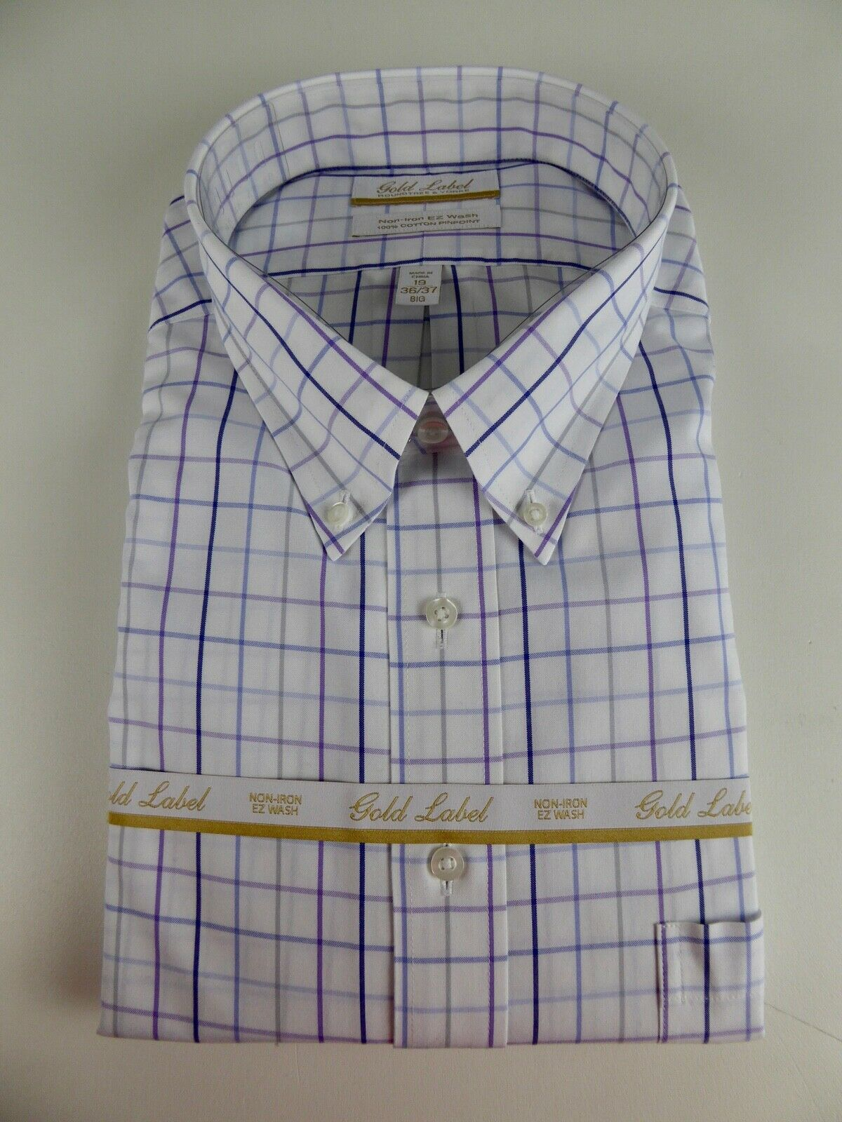 Roundtree & Yorke gold Label Non Iron EZ Wash Plaid Cotton Dress Shirt  NWT