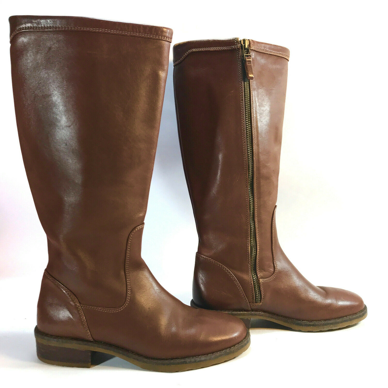 LL BEAN side zip sleek thick brown leather glossy knee hi boots 7 FREE SHIP
