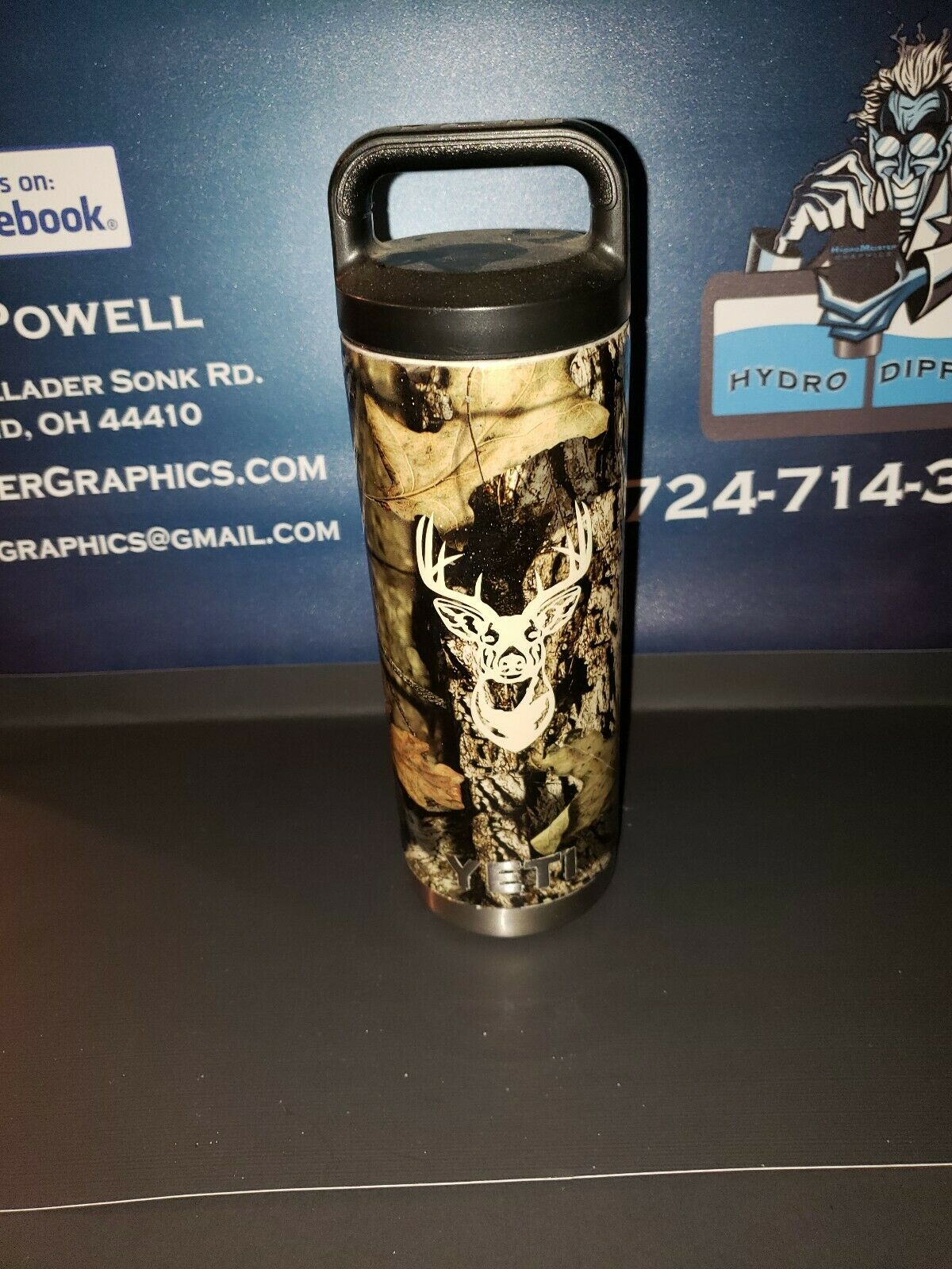 Yeti Authentic 18 oz waterbottle, with  a 10.00 chug lid, mossy oak w  deer logo  buy 100% authentic quality