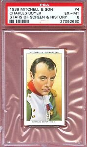1939 Mitchell Stars of Screen & History Card #4 CHARLES BOYER Napoleon PSA 6