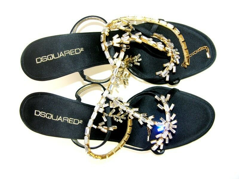 NEW DSQUArot schuhe SANDALS SWAROVSKI CRYSTALS CRYSTALS CRYSTALS & Gold CHAIN It. 39 - US 9 18c00a