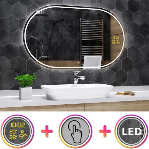 Badspiegel mit LED Beleuchtung Touch Schalter und Wetterstation S1Palermo K04