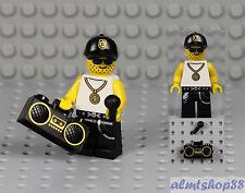 LEGO - Rapper Minifigure w/ Boombox & Microphone - Radio Rock DJ Band Karaoke