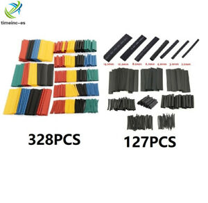 328PCS 2:1 Polyolefin Heat Shrink Tubing Tube Sleeve Wrap Wire Assortment 8 Size