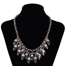 GOTH SKULL NECKLACE 17 SKULLS -  DAY OF THE DEAD- STATEMENT HORROR PUNK