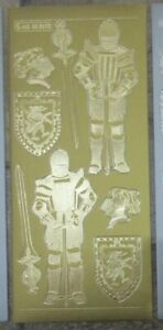 MD355603 Knights Gold Silver Cardmaking Peel Offs History Stickers Sheets