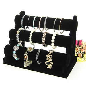 Black-Velvet-T-Bar-Jewelry-Rack-Bracelet-Necklace-Stand-Organizer-Holder-Display