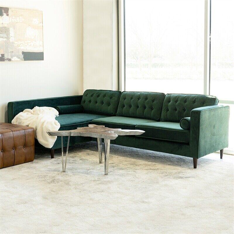 Mid Century Modern Owen Forest Green Sectional Sofa Left Facing