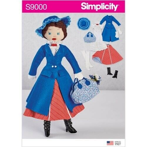 MARY POPPINS Doll Sewing Pattern McCalls 7432 Rag Dress Coat Skirt Crochet Scarf