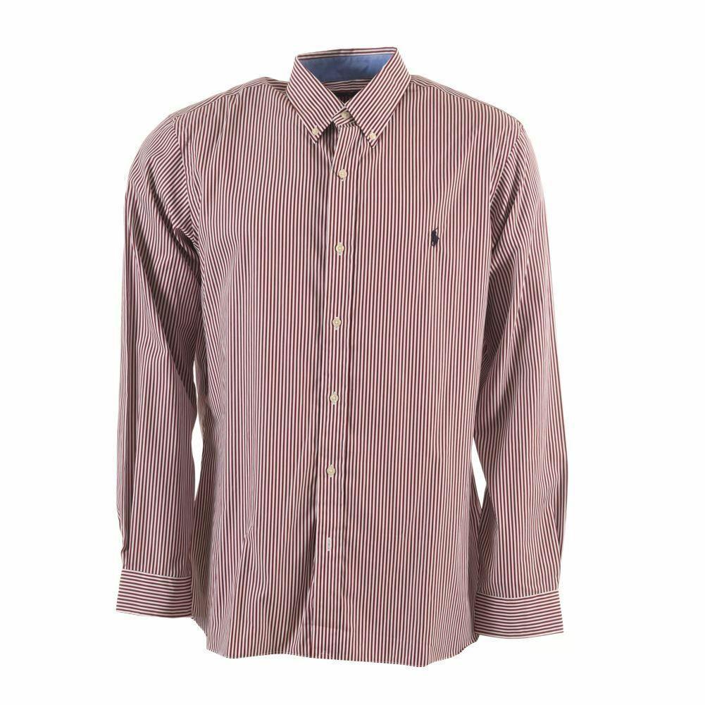 RALPH LAUREN Shirt Red Stripe Cotton Slim Fit Size Large HC 559