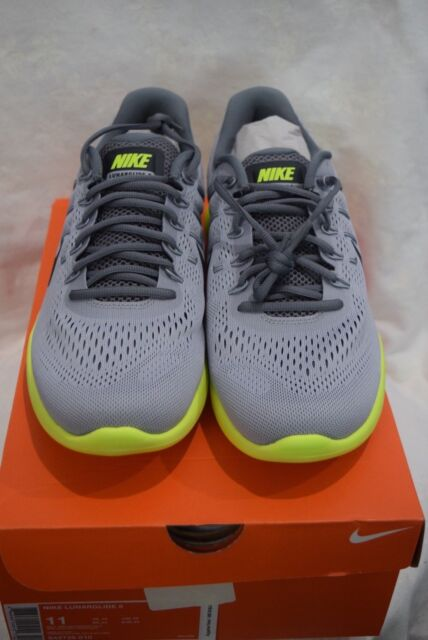 finest selection 09b40 56376 Nike Lunarglide 8 Mens 843725-010 Wolf Grey Volt Mesh Running Shoes Size 11