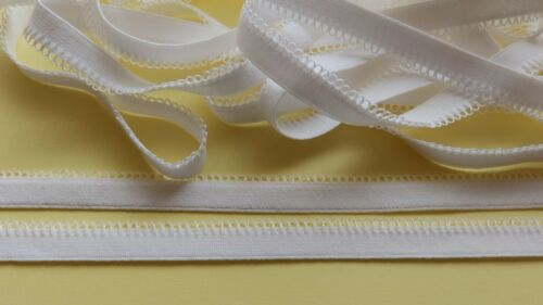 white loop edge plush back elastic strap 2metresx12mm