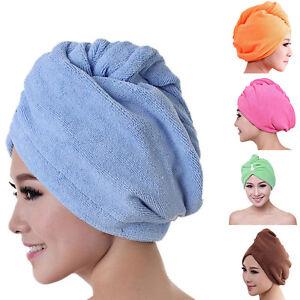 60*22cm Hair Towel Drying Quick Dry Microfiber Twist Bath Spa Hair Wrap Hat NEW