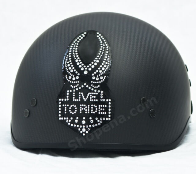 Live To Ride Rhinestone Helmet Patch Decal Biker MX ATV Sticker Racing Street +