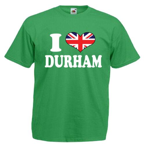 I Love Heart Durham Adults Mens T Shirt 12 Colours Size S 3XL