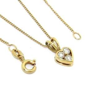 Senoras-mujer-18-CT-18-CT-Cadena-de-oro-y-conjunto-de-colgante-de-corazon-con-diamantes