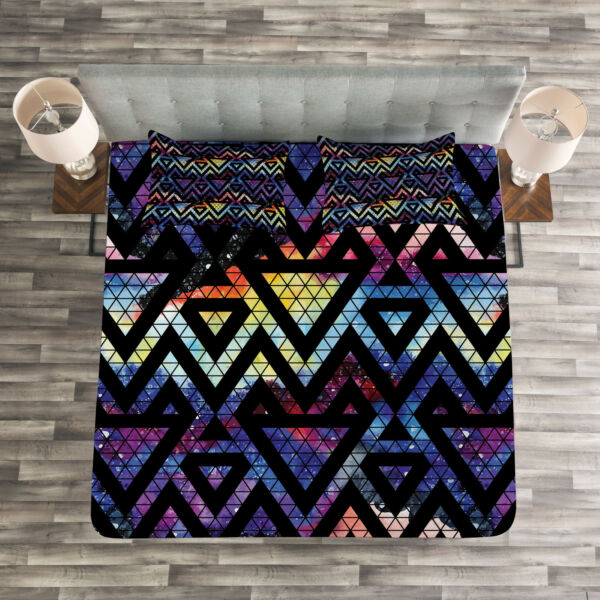 100% Kwaliteit Geometric Quilted Bedspread & Pillow Shams Set, Galaxy Theme Lines Print Om Digest Greasy Food Te Helpen