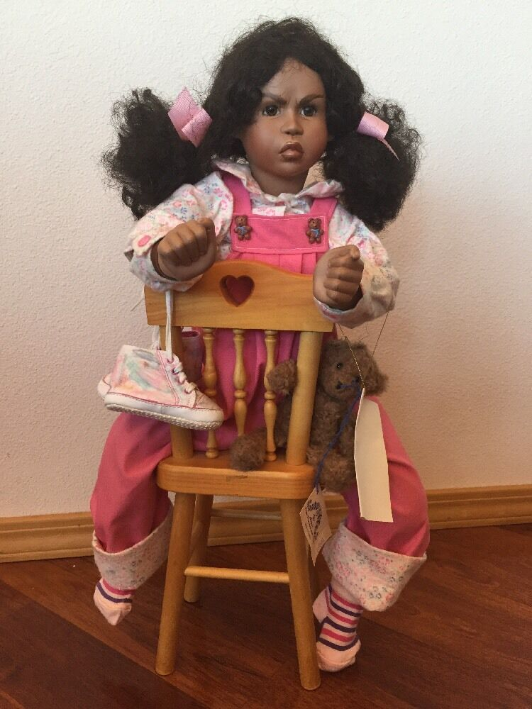 Cece's Time Out Porcelain Doll Sign By Lynne Randolph Chair And Bear 7/25 Rare