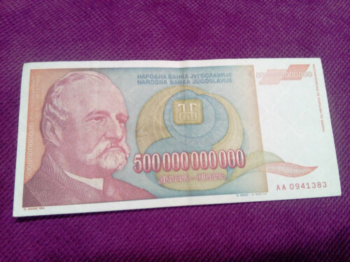 Biggest European banknote 500 billion dinars Yugoslavia inflation 1993