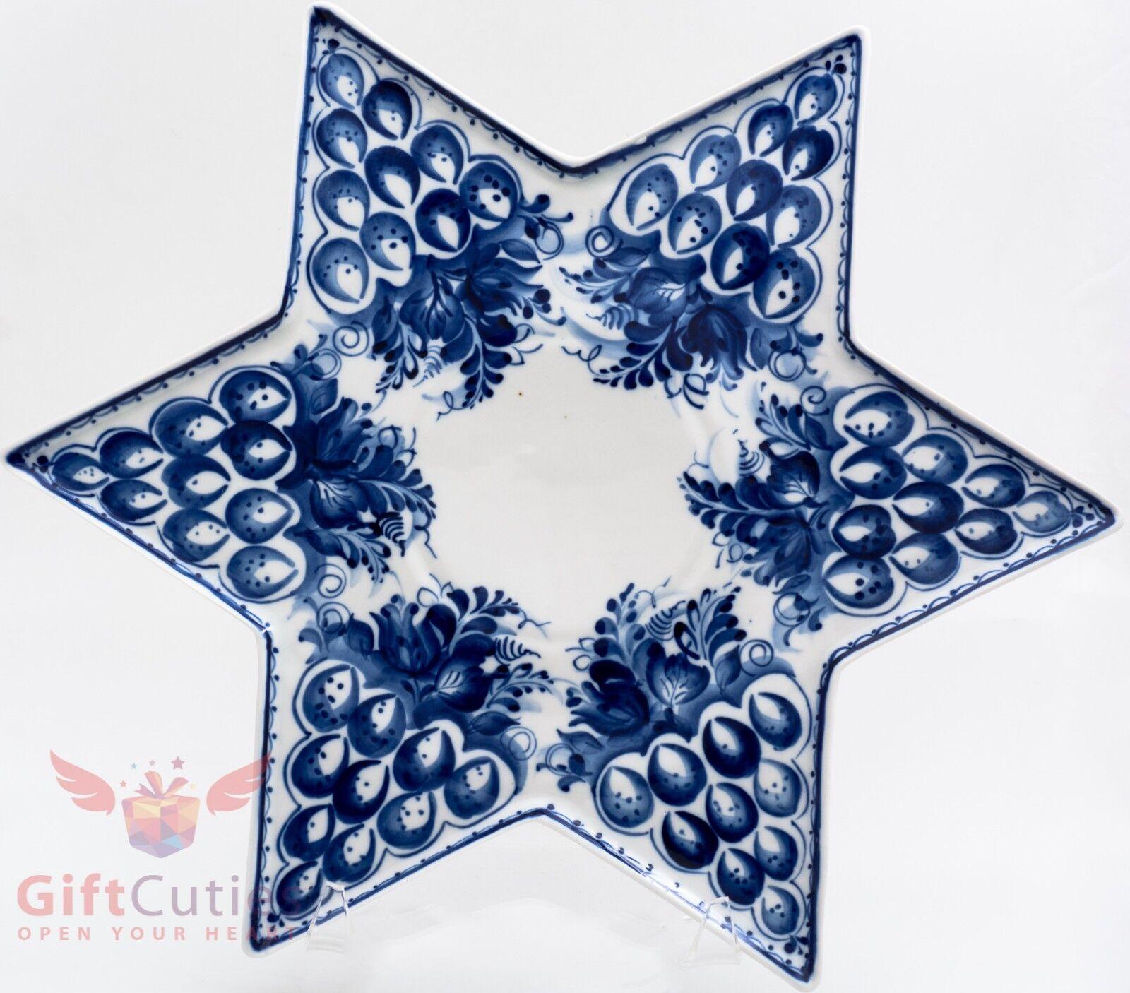 Porcelaine Gzhel Star de David Plateau Plaque Plateau à pain azyme Handmade