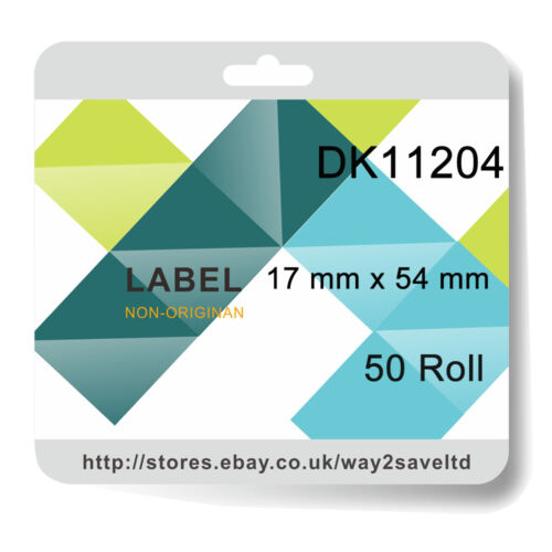 50 Roll Compatibl with Brother DK11204 P Touch Address Shipping Labels 17 x 54mm