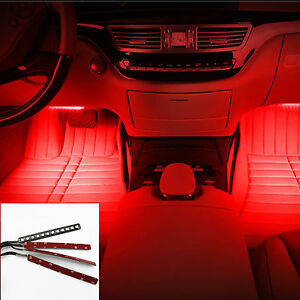 Red Cold 4x 12 Led Car Suv Interior Light Trim Atmosphere Panel Neon Lamp Strip Ebay