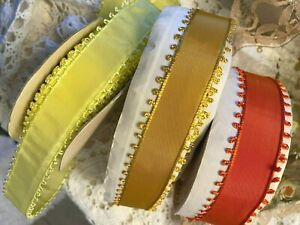 VINTAGE-PICOT-EDGE-1940-039-s-RIBBON-1yd-Made-in-France-7-8-034-CANARY-YELLOW