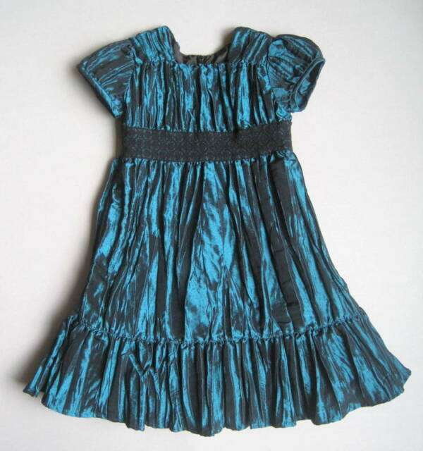 HANNA ANDERSSON Girls 100 3 4 5 Taffeta Shimmer Party Dress Teal Black Ruffled