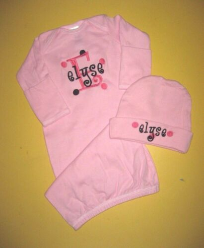 Personalized Baby Girl or Boy SLEEPER Gown Creeper /& HAT Outfit Set SHOWER GIFT
