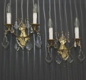 Antik-Empire-Wandlampen-Messing-um-1920-Feuervergoldet-Kristallglas-Led-Alt