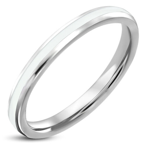 Stainless Steel Ring Enamel Stripes White Black Rose Gold Thin Plain Men/'s