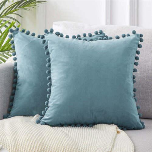 """US Velvet Cushion Cover Pom Poms Home Decorative Sofa Car Throw Pillow Case 18/"""""""