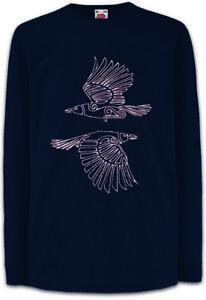 HUGIN-AND-MUNIN-III-Kinder-Langarm-T-Shirt-Walhalla-Odin-Raven-Ravens-Raben-und