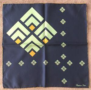 2b2280373fa Authentique carré foulard gavroche pochette soie bleu Christian DIOR ...