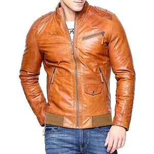 Men Real Lambskin Tan Brown Leather Motorcycle Slim Fit Biker Bomber
