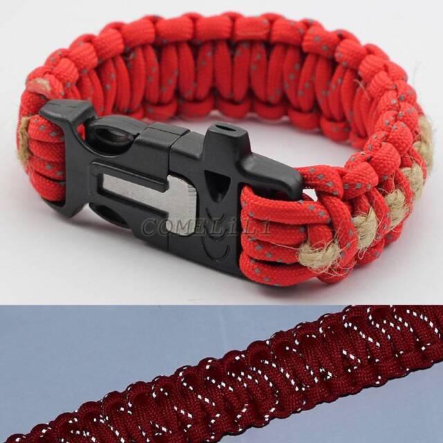 9'' Paracord Bracelet +Whistle/Flint Fire Starter/Scraper/Hemp Twine Reflect Red