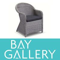 Outdoor Wicker Grey Dining Chair Arm Chair Rattan Cane Deck Garden Furniture