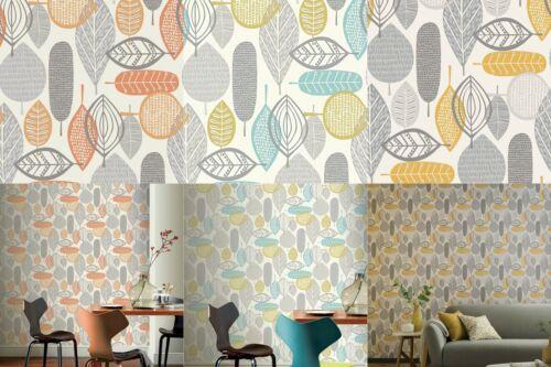 Arthouse Quality Malmo Grey White Orange Teal Leaves Nature Woodland Wallpaper