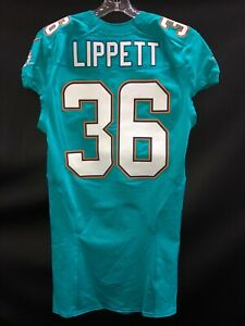 36-MIAMI-DOLPHINS-TONY-LIPPETT-TEAM-ISSUED-JERSEY-SZ-40-YR-2016-MICHIGAN-STATE