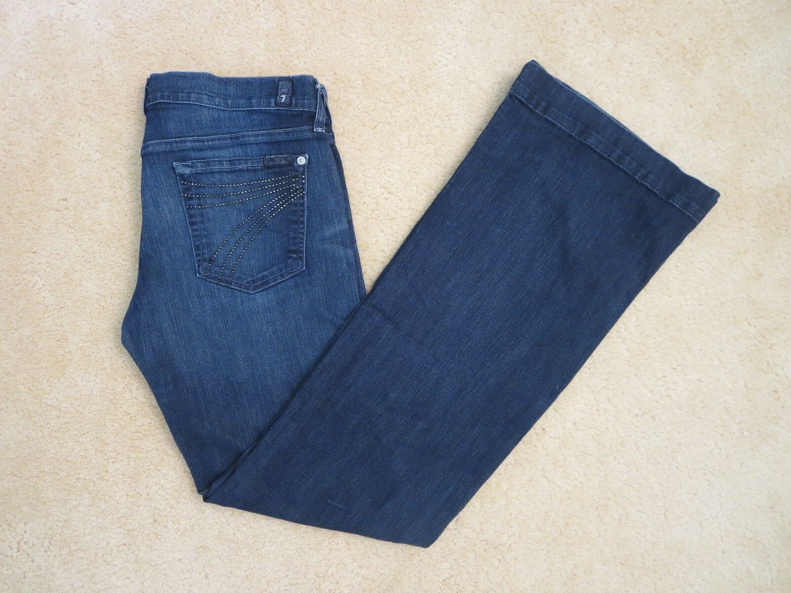 7 For All Mankind Womens Dojo Flare Jeans Size 30 Dark Wash