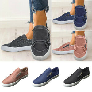 Women-039-s-Zipper-Canvas-Slip-On-Shoes-Espadrille-Pumps-Ladies-Casual-Flats-Shoes