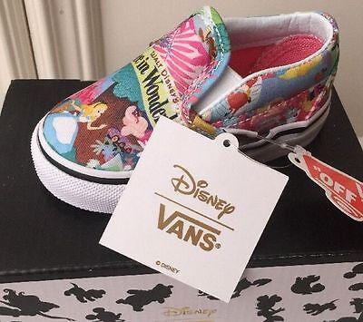 Nouveau Vans X Disney Alice au pays des merveilles Bébé Filles Slip On RARE Imprimé | eBay