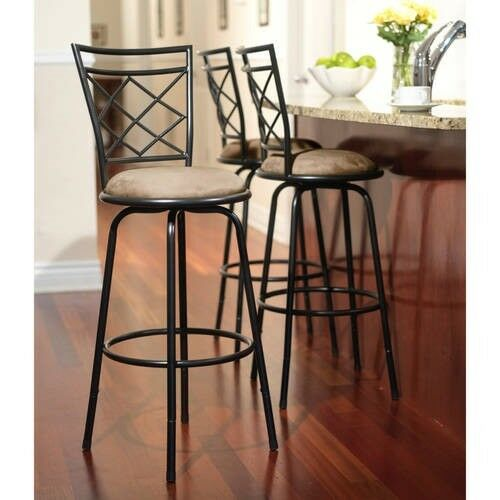 Bar Stool Set 3 Adjustable Height Kitchen Chairs Swivel Counter Stools Tall  Blk
