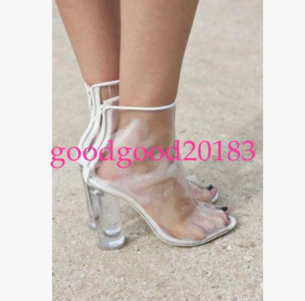la transparence des bottines de de de femmes sexy escarpins chaussures à talon arrière zipper   à La Mode  39fdf4