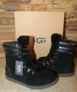 e9a802823cf Details about NIB UGG VIKI Waterproof Leather Shearling Boots YOUTH 5 6  WOMEN'S 7 8 BLACK