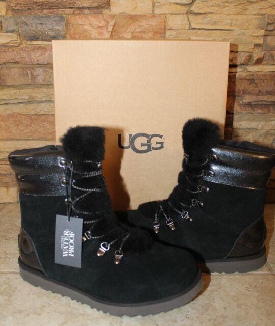 42fe07beb6d NIB UGG VIKI Waterproof Leather Shearling Boots YOUTH 5 6 WOMEN'S 7 8 BLACK