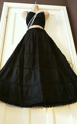 """40"""" Long Cotton Embroidered Gypsy Boho Casual 5 tier Skirt Plus size 18-26"""