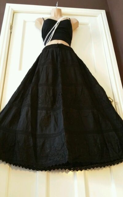 Cotton&Lace Embroidered Gypsy Boho Casual Festival 5 tier Skirt FreeSize14-22