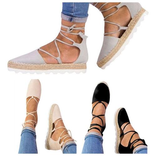 Womens Platform Wedge Espadrilles Sandals Ankle Strap Lace Up Heels Shoes Sizes